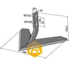 Soc à ailettes  pour bineuse MONOSEM 10100017 adaptable - BlackSteel©